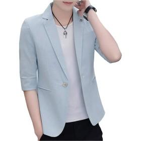 [MANMASTER(マンマスター)]テーラードジャケット カラージャケット 七分袖 細身 ステージ衣装 メンズ CXH14 (XS, ライトブルー)