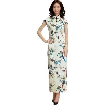 半袖 レディース ロング丈ワンピース チャイナドレス きれいめ ベージュ M L LL 3L 4L 大きいサイズ (4L)