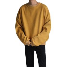 PIITE メンズ 秋 冬 シンプル ゆったり ファッション パーカー 暖かい クルーネック 防風 防寒 かっこいい カジュアル 韓国風 長袖 スウェットイエローPT4