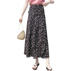 レディース ロング 花柄 スカート 巻きスカート aライン 夏 シフォン ふわふわ キルテ 長い ラップスカート