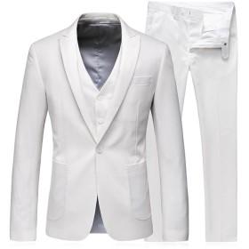 スーツ メンズ スリーピース 純色 WEEN CHARM ビジネス カジュアル 大きいサイズ 結婚式 xs/s/m/l/xl/2xl/3xl/4xl (M, ホワイト)
