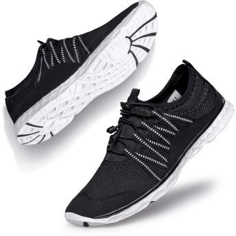 [Nstar] スニーカー 速乾 軽量 通気 スポーツ ウォーキング 防水ケース 携帯 メンズ 黒、白 26.5cm (EU=43)