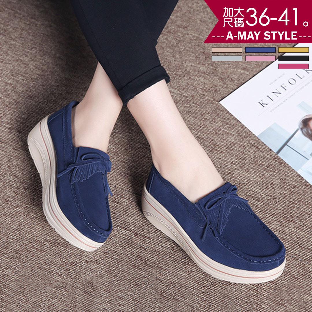 樂福鞋-英倫流蘇懶人厚底鞋(36-41加大碼)【XD303760】*艾美時尚
