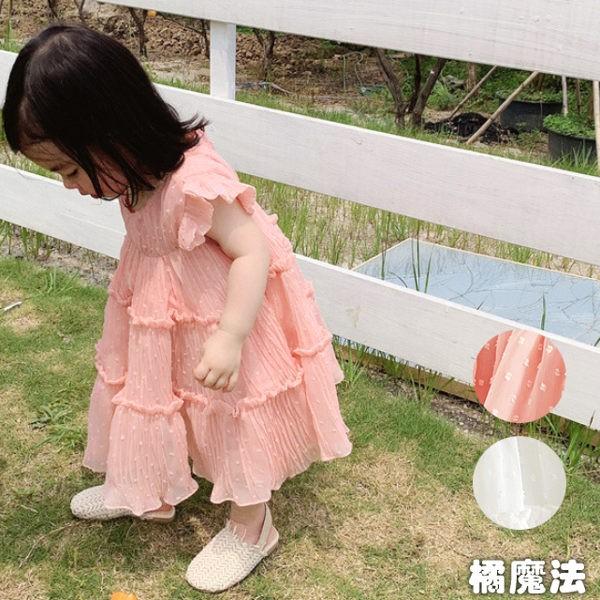 棉紗連身洋裝 連衣裙 兒童洋裝 橘魔法 女童 連身裙 洋裝 白色洋裝【p0061189836990】