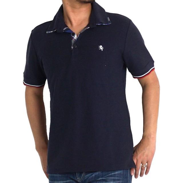 大きいサイズ メンズ ポロシャツ 2枚襟 半袖 鹿の子 吸水速乾 ドライ tシャツ ゆったりポロ 22465 5L ネイビー