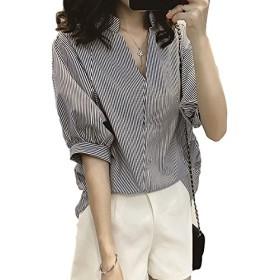 [ブレスアップ] レディース 襟なし vネック カシュクール パフ スリーブ 半袖 五分袖 ストライプ 柄 チュニック オーバー シャツ ブラウス 後ろボタン デザイン (L, 黒)
