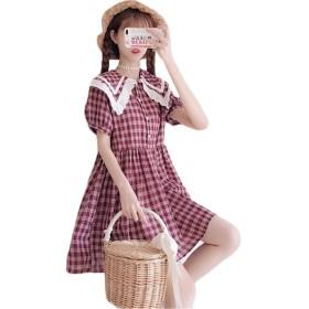 (グードコ) レディース 学院風 ワンピース かわいい 夏 半袖 マリンセーラー シャツ フレアスカート チェック柄 Aライン デートかわいい ピンクF