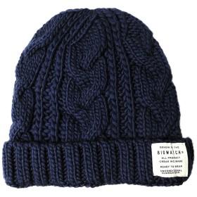 [ビッグワッチ] 帽子 ニット帽 ロングケーブル ウールニットキャップ WL-07 メンズ ネイビー L XL 大きいサイズ