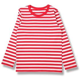 H STYLE 子供服 キッズ 男の子 女の子 ボーダー長袖Tシャツ (160, 01白 X 赤)