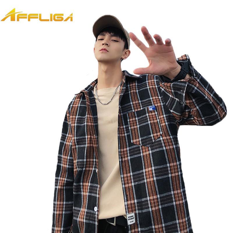 【M-5XL】大尺碼長袖襯衫 經典重現格紋港風大碼襯衫 韓版寬鬆格子襯衫 百搭男生翻領襯衫 長袖襯衫外套 襯衣 正韓上衣