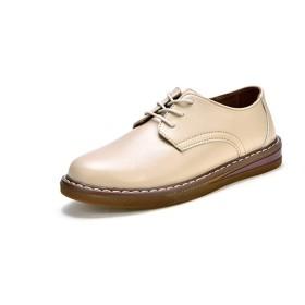 Nomioce レディース オックスフォードレディース革靴本革レザー通学通勤おじ靴レースアップパンプスシューズ靴おじ靴ヒールカジュアル女性クリーム22.5センチメートル