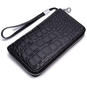 MOOLTESAA 立派な石柄式牛皮材女性用長財布オルガン式カード27枚入れるRFID防磁気デザイン(黒)