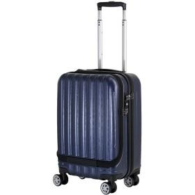 [シフレ] ジッパーハードスーツケース 機内持込対応サイズ フロントオープン サスペンション付キャスター 保証付 28L 47 cm 3.5kg ネイビー