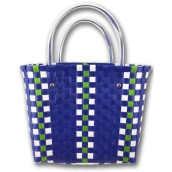 ペトラ【PETRA】大人かわいい レディスかごバッグ ピクニックバスケットかごバッグ メルカドバッグ エコバッグ マルチバッグ PPカゴバッグ (ブルー)