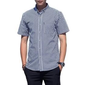AISHITE メンズ 半袖 ワイシャツ チェックシャツ 純綿 yシャツ ボタンダウンシャツ カジュアル アメカジ系 サロン系 キレカジ系