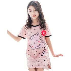 [ジャンーウェ] パジャマ 女の子 半袖 夏 綿 ワンピース 猫柄 ピンク 110-160 ピンク160