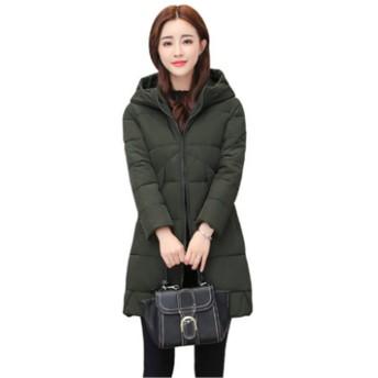 [イダク] レディース ダウンジャケット 体型カバー 防風 防寒 中綿コート 綿入れコート あったか 冬服モスグリーンL