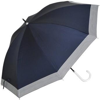 日傘 長傘 レディース 完全遮光 軽量 雨晴兼用 (ボーダー/ネイビー)