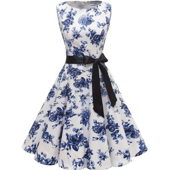 Gardenwedパーティードレス 結婚式ドレス フォーマル 大きいサイズ お呼ばれ レトロ ワンピース ヴィンテージ 丸首 ノースリーブ レディース 春夏ワンピース 演出 ホワイトブルーフラワー XLサイズ