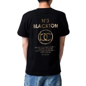 (ブラクトン)BLACKTON tシャツ メンズ ゴールド 金箔 ロゴ プリント 半袖 クルーネック bt-rem-11-06 XL BLACK