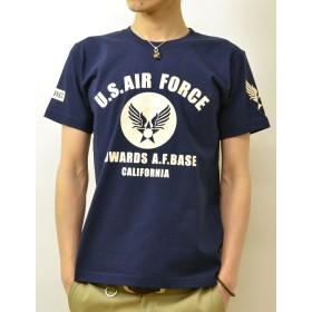(ジーンズバグ)JEANSBUG プレミアム 8th AIR FORCE×U.S. AIR FORCE CA オリジナル エアフォース ミリタリー プリント 半袖 Tシャツ メンズ レディース大きいサイズ PRST-8AF XL ネイビー(86)