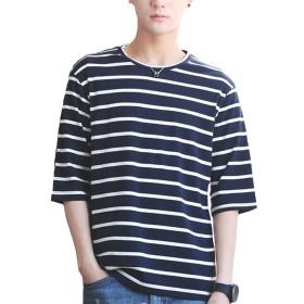 Tシャツ 夏服 メンズ 七分袖 五分袖 ストライプ 夏 Tシャツ 夏季対応 おしゃれ 深蓝 M