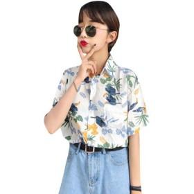 [ミートン] アロハシャツ レディース シャツ ブラウス ワイシャツ ハワイ風 プリント 花柄 夏 半袖 ビーチ ゆったり カジュアル ホワイトF