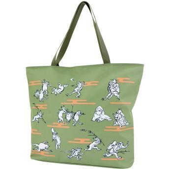和のマルチトートバッグ (オリーブグリーン 鳥獣戯画) トートバッグ トート 和柄