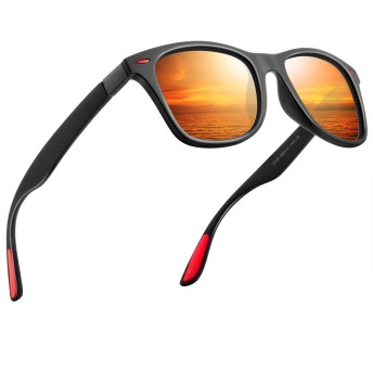 偏光 サングラス メンズサングラス UV400 紫外線カット レディースサングラス スポーツサングラス 軽量 自転車 釣り テニス スキー ランニング ゴルフ ドライブ 2150(オレンジ/赤)