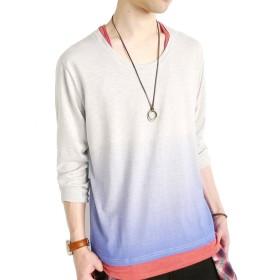 (モノマート) MONO-MART グラデーション カットソー 長袖 Tシャツ 色 Uネック メンズ ブルー Mサイズ