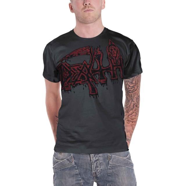 Death T Shirt Band Logo レッド Jumbo Dye Sub ブラック Overdye 新しい 公式 メンズ Size XL