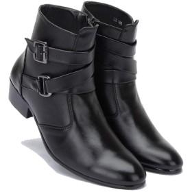 [MERLIN] 6.5CM UP メンズ シークレットブーツ 身長アップ靴 6.5cm背が高くなる靴 ハイカット ファッションブーツ (26.5, レザーブラック)