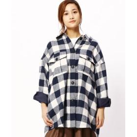 グランドパーク チェック柄オーバーサイズネルシャツ レディース 67ネイビー 99(FREE) 【Grand PARK】
