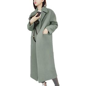 [もうほうきょう] レディースコート チェスターコート トレンチコート 厚手コート 膝下 女性 (グリーン, S)