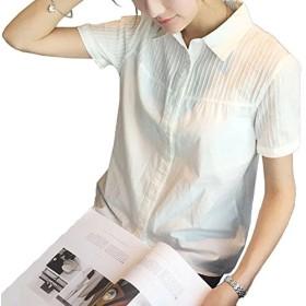 (エスライフ)S-Lifeeling 綿 純色 トップス かわいい 修身 丸い襟 スタンドーカラー 長袖 半袖 シンプル きれいめ 上品 スリム ボタン付き 長袖 お出掛け 職場 通勤 お呼ばれ レディース シャツ
