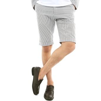 インプローブス ショートパンツ 綿麻混 ストレッチ ハーフパンツ 短パン メンズ ホワイト×ネイビー M サイズ