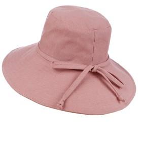 日よけ帽 つば広め帽子 レディースハット UVカット 紫外線対策 無地 おしゃれ帽子 リボン付き 吸汗 通気 柔らかい綿生地 ワイヤ入り 紐付き 飛ばない サファリハット 折り畳み可能 夏 ビーチハット 旅行 アウトドア スタイリュッシュ ピンク