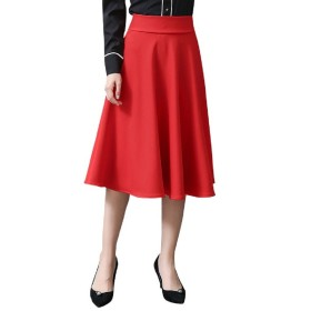 (ロンショップ)R.O.N shop ミモレ丈 フレア スカート 大人 かわいい Aライン ハイウエスト 黒 赤 ワインレッド (レッド,M)