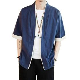 Tシャツ 半袖 カットソー メンズ ゆったり おしゃれ 夏季 navy XL