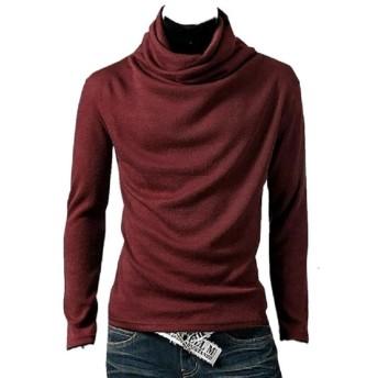 おしゃれ アフガン タートルネック 長袖 tシャツ 無地 メンズ レディース 6カラー 4サイズ (ワインレッド XL)
