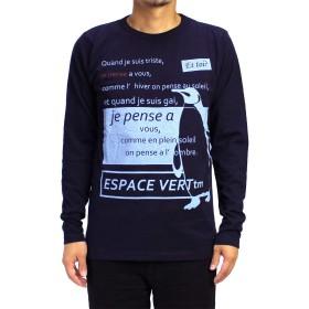 (エスパスヴェール) ESPACE VERT メンズ メッセージ&ペンギンロンT (X-Large, ネイビー)