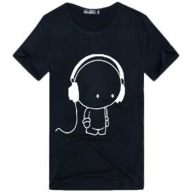 Plus Nao(プラスナオ) Tシャツ カットソー プルオーバー 半袖 ラウンドネック クルーネック おもしろイラスト シュールプリント カジュア S Gヘッドフォンブラック