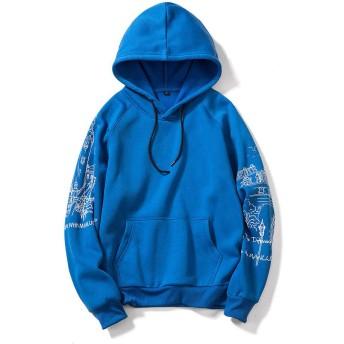 プルオーバーパーカー メンズ 裏起毛 フード付き おおきいサイズ 原宿風 ゆったり カジュアル 春 秋 冬 ブルー XL