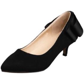 [ELEEMEE] 靴 レディース オフィス パンプス ピンヒール スリッポン パンプス ミドルヒール 39AS Black
