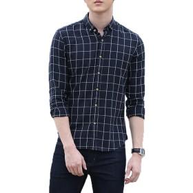 「テンカ」長袖ワイシャツ メンズ スリム 春夏、オックスフォード シンプル チェックシャツ 襟付き レジャー 完全ノーアイロン カジュアルシャツ ブラック S