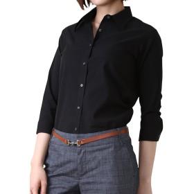 ドレスシャツ 七分袖 S&E SS ブラック (シャツ ブラウス オフィス ビジネス 白 黒 レディース ストレッチ フォーマル 大きいサイズ プレミアムストレッチ ドレスシャツ 長袖 7分袖 5分袖 半袖) [42050]