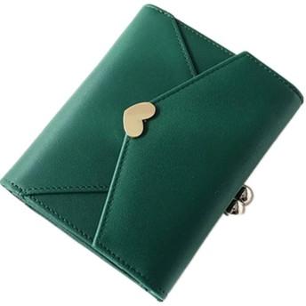 レディース 二つ折り がま口 サイフ 財布 女性 小さい ミニ財布 小銭入れなし コンパクト 安い 緑 ピンク 黒 ブラック グレー 灰色 可愛い カード 学生【緑】