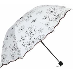 【Port Shop】 大きい花柄日傘 レディース 折り畳み傘 軽量 UVカット 遮光率99% (黒) プレゼント 夏の時期に 梅雨にぴったり
