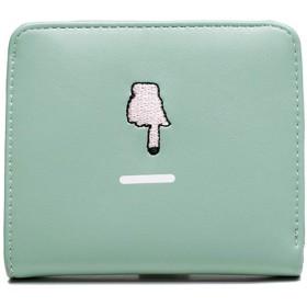 MENOZO レディース Q293 ミニ財布 女の子のお財布 二つ折り財布 ファスナー小銭入れ スナップボタン付き 軽量 コンパクト リボン タッセル チャーム (グリーン)