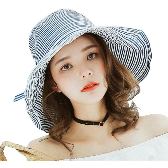 帽子 レディース UVカット リネン つば広 ハット お出かけ用品 夏 紫外線対策 サイズ調整可 麦わら帽子 折りたたみ 持ち運び便利 ストローハット かわいい 人気 リボン 小顔効果も抜群 56-58cm (ブルー)